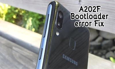 حل مشکل نمایش ارور آنلاک بوت لودر سامسونگ A202F بعد از روت | متن انگلیسی هنگام روشن کردن گوشی بعد از روت گلکسی A20E SM-A202F